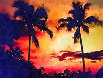 Nettes Aquarell eines tropischen Sonnenuntergangs Lizenzfreies Stockbild