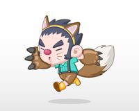 Nettes Art-Kind in der Werwolf-Kostüm-Illustration lizenzfreie abbildung