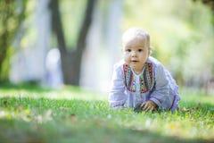 Nettes Baby, das auf Rasen im Park kriecht stockfotografie