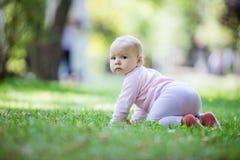 Nettes Baby, das auf Rasen im Park kriecht lizenzfreies stockbild