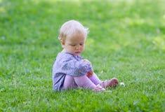 Nettes Baby, das auf Wiese sitzt Lizenzfreie Stockfotografie