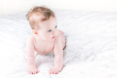 Nettes Baby, das lernt, auf ein weißes Bett zu kriechen Stockfoto