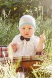 Nettes Baby in der Fliege sitzt in einem Koffer im Gras stockfotos