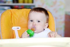 Nettes Baby isst Früchte, indem er Nibbler verwendet Stockfotos