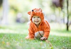 Nettes Baby kleidete im Fuchskostüm an, das auf Rasen im Park kriecht stockbild
