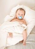 Nettes Baby mit dem soother, das im Weidenkorb liegt Stockfoto