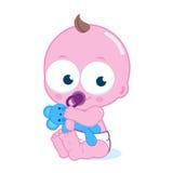 Nettes Baby mit Teddybären lizenzfreie abbildung
