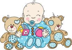 Nettes Baby mit Teddybären stock abbildung