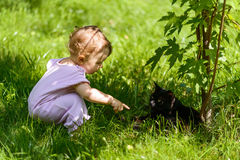 Nettes Baby spielt mit einer schwarzen Katze im Park Stockbild