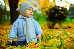 Nettes Baby unter gefallenen Blättern im Herbstpark Stockfotos