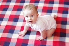 Nettes Babyalter von 7-monatigem lernt zu kriechen Stockfotos
