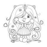 Nettes Babyeinhorn mit dem super langen Haar mit Blumen, Färbungsseite für Mädchen Vektor Stockfotos