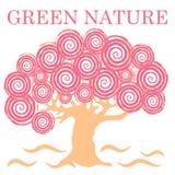 Nettes Bild des kreativen Baums mit Aufschrift GRÜN-NATUR Lizenzfreies Stockfoto