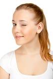 Nettes Blinzeln der jungen Frau Lizenzfreies Stockfoto