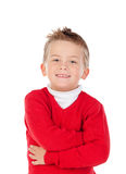 Nettes blondes Kind mit rotem Trikot Lizenzfreies Stockbild