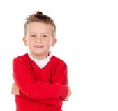 Nettes blondes Kind mit rotem Trikot Stockbilder