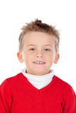 Nettes blondes Kind mit rotem Trikot Stockfotografie