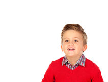 Nettes blondes Kind mit rotem Trikot Lizenzfreie Stockfotografie