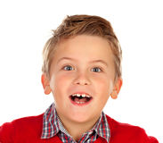Nettes blondes Kind mit rotem Trikot Lizenzfreie Stockbilder