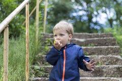 Nettes blondes Kleinkind, das grünen Apfel auf der Treppe eting ist Stockfotografie