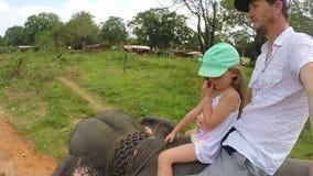 Nettes blondes Mädchen, das Elefantfahrt mit ihrem Vater in Sri Lanka genießt stock video