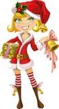 Nettes blondes Mädchen in der roten Sankt-Klage mit Glocke vektor abbildung