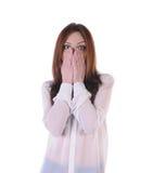 Nettes, blondes Mädchen erschrak Blick auf der Front Lizenzfreie Stockfotos