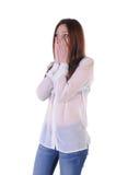 Nettes, blondes Mädchen erschrak Blick auf der Seite Lizenzfreies Stockbild