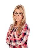 Nettes blondes Mädchen mit kariertem Hemd und Gläsern Stockfotografie