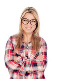Nettes blondes Mädchen mit kariertem Hemd und Gläsern Stockfotos