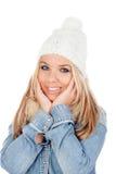 Nettes blondes Mädchen mit Mantelwinterkleidung Stockbilder