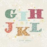Nettes Blumenalphabet. Buchstaben G, I, H, J, K, L Lizenzfreies Stockfoto