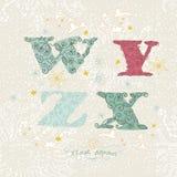 Nettes Blumenalphabet. Buchstaben W, Y, Z, X Stockfotografie