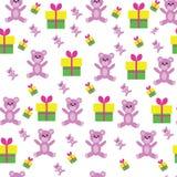 Nettes Blumenmuster im kleinen Teddybären Stockbilder