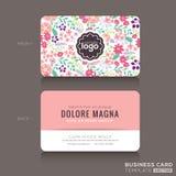 Nettes Blumenmuster Visitenkarte-Namen-Kartendesign Lizenzfreies Stockfoto