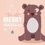 Nettes Braun betrifft rosa Hintergrund und Beschriftung der frohen Weihnachten Lizenzfreie Stockfotografie