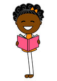 Nettes Buch des kleinen Mädchens Lese Lizenzfreie Stockbilder
