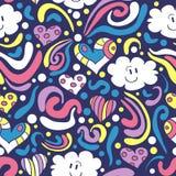Nahtloses Muster mit glücklichen Wolken Lizenzfreies Stockfoto