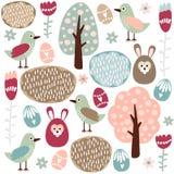 Nettes buntes nahtloses Ostern-Frühlingsmuster mit Hasen, Vogel und Blumen Lizenzfreie Stockbilder