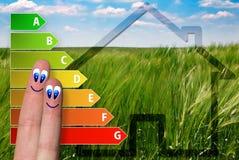 Nettes Diagramm der Hausenergieeffizienzbewertung mit zwei netten glücklichen Fingern und grünem Hintergrund Stockfotografie