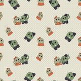 Nettes einfaches naives nahtloses Muster mit lustigem Kaktus: M?dchen mit Bogen und Junge mit Hut auf Tupfenhintergrund F?r Dekor stock abbildung