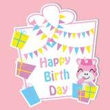 Nettes Einhorn mit bunten Geschenkboxen und Flagge auf Rahmen vector Karikatur, Geburtstagspostkarte, Tapete und Grußkarte lizenzfreie stockfotografie