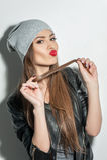 Nettes flirty Mädchen versucht zu verführen Stockbilder