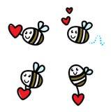 Nettes Flugwesengekritzel-Bienenset stock abbildung