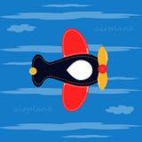 Nettes Flugzeug auf einem blauen Hintergrund mit Wolken T-Shirt Design-Vektorillustration Stockbild