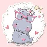 Nettes Flusspferdmädchen in den rosa Brillen vektor abbildung