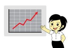 Nettes Frauendarstellen steigende Tendenzen Stockbilder