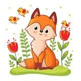 Nettes Fuchs sidit auf einer Blumenwiese lizenzfreie abbildung