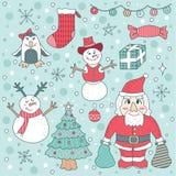 Nettes Gekritzel-Weihnachtselement Santa Claus Vector Illustration Stockbilder