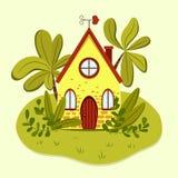 Nettes gelbes Sommerhaus mit geformter Windschaufel des Herzens lizenzfreie abbildung